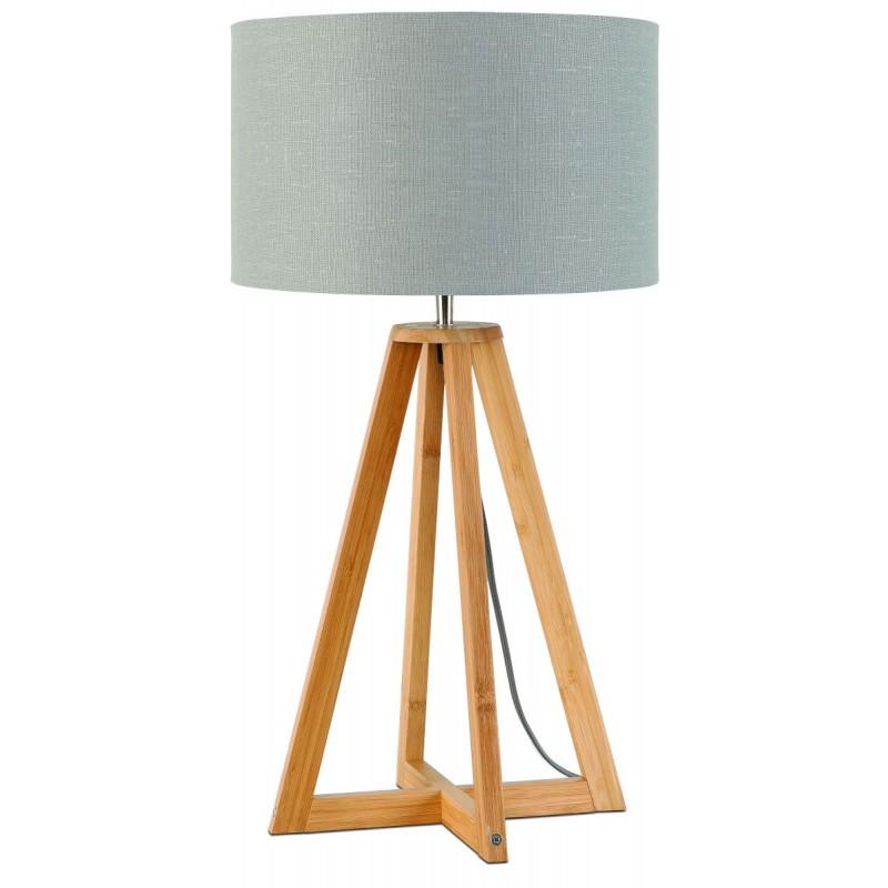 Lampe de table en bambou et abat-jour lin écologique EVEREST (naturel, gris clair) - image 44611