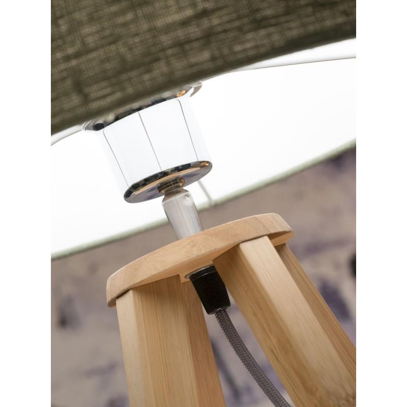 Lampe de table en bambou et abat-jour lin écologique EVEREST (naturel, gris clair) - image 44613