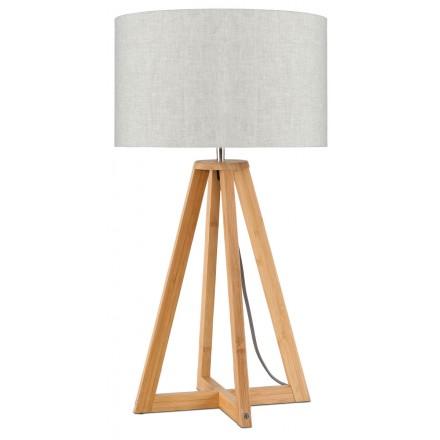 Lampe de table en bambou et abat-jour lin écologique EVEREST (naturel, lin clair)