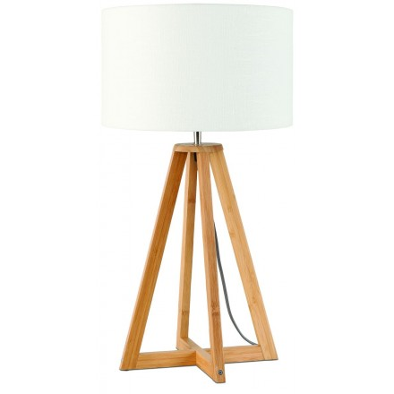 Bamboo table lamp and everEST eco-friendly linen lampshade (natural, white)