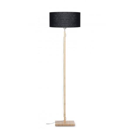 Bambus Stehlampe und FUJI umweltfreundliche Leinen Lampenschirm (natürlich, schwarz)
