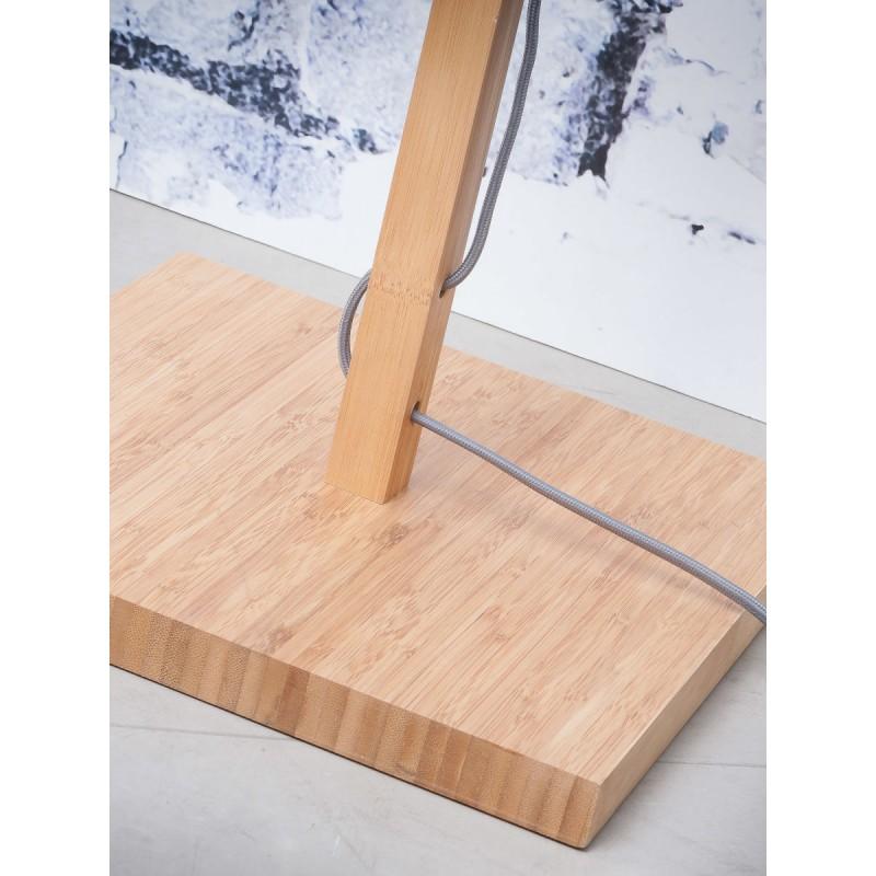 Lampada in legno in piedi con bambù e paralume di lino eco-friendly FUJI (naturale, nero) - image 44628