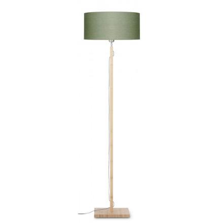 Lampada in legno in piedi con bambù e paralume di lino eco-friendly FUJI (naturale, verde scuro)