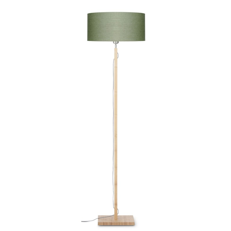 Lampe sur pied en bambou et abat-jour lin écologique FUJI (naturel, vert foncé)