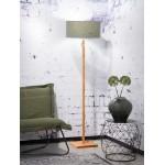 Lámpara de pie de bambú y pantalla de lino ecológica FUJI (natural, verde oscuro)