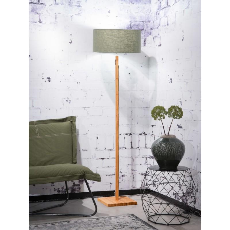 Lampe sur pied en bambou et abat-jour lin écologique FUJI (naturel, vert foncé) - image 44642