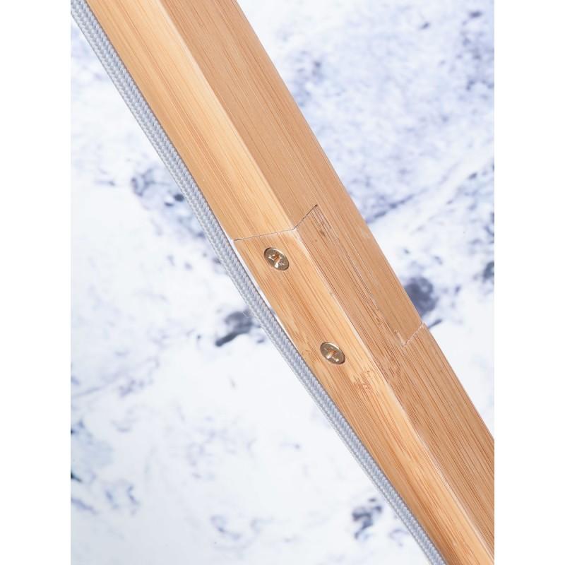 Lampe sur pied en bambou et abat-jour lin écologique FUJI (naturel, vert foncé) - image 44645