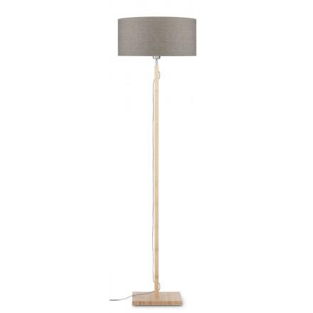 Lampada in legno in piedi Fuji bamboo e paralume di lino eco-friendly (naturale, lino scuro)