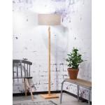 Lámpara de pie de bambú Fuji y pantalla de lino ecológica (natural, lino oscuro)