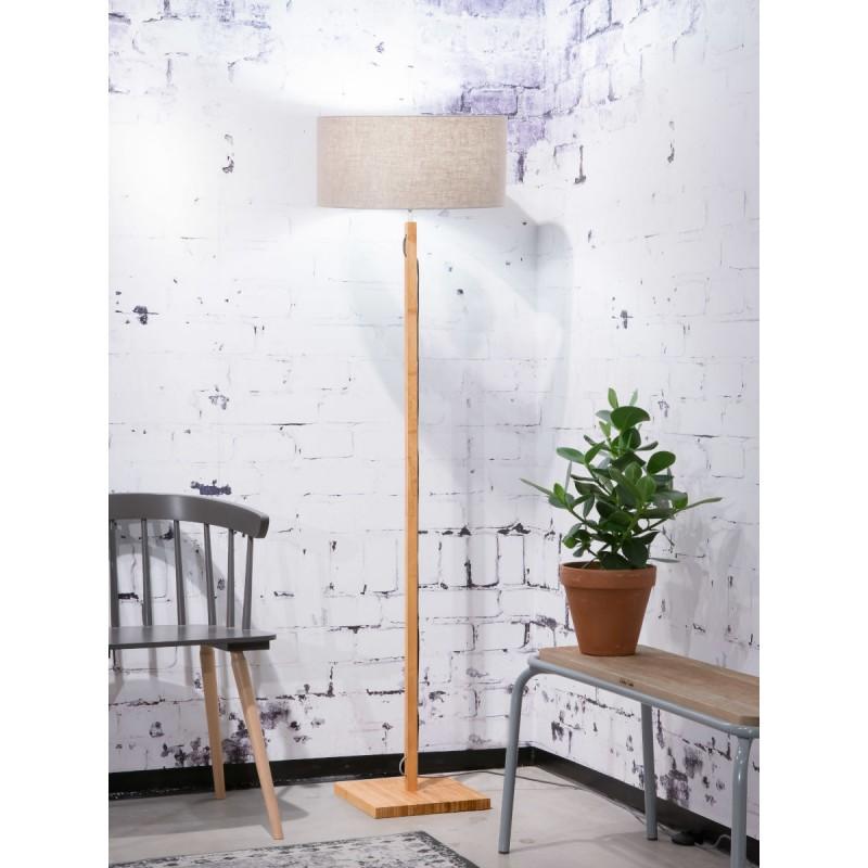 Lámpara de pie de bambú Fuji y pantalla de lino ecológica (natural, lino oscuro) - image 44647