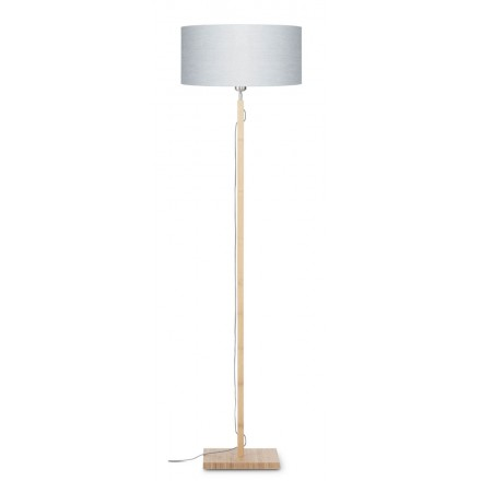 Bamboo standing lamp and FUJI eco-friendly linen lampshade (natural, light grey)