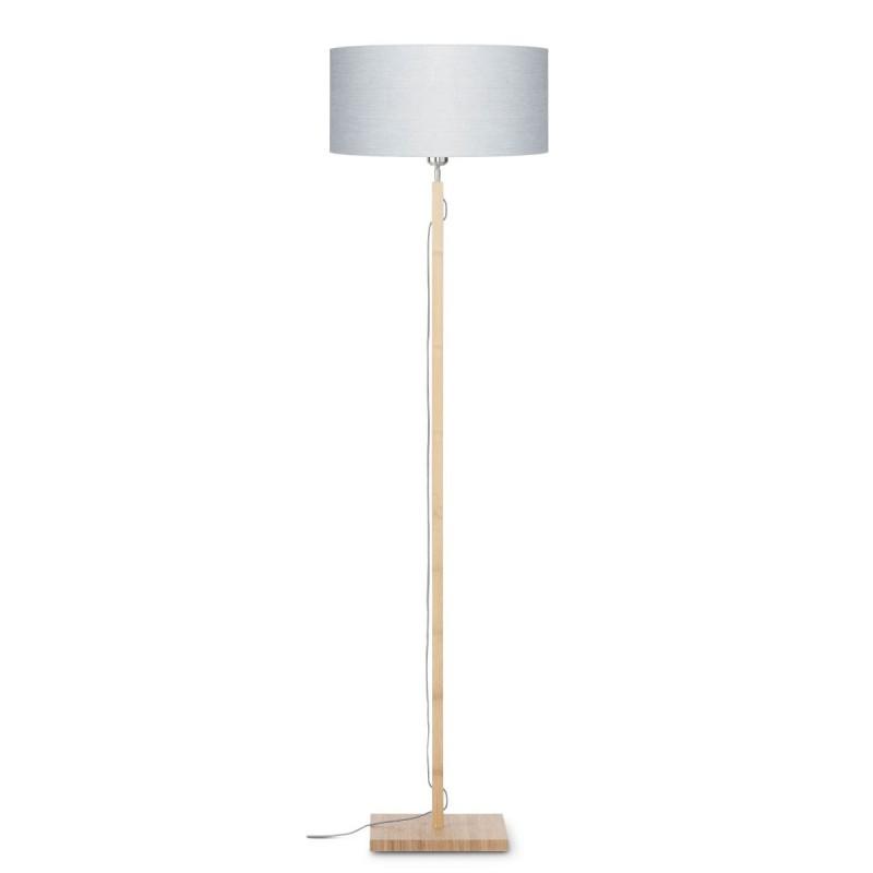 Bambus Stehlampe und FUJI umweltfreundliche Leinen Lampenschirm (natürlich, hellgrau)