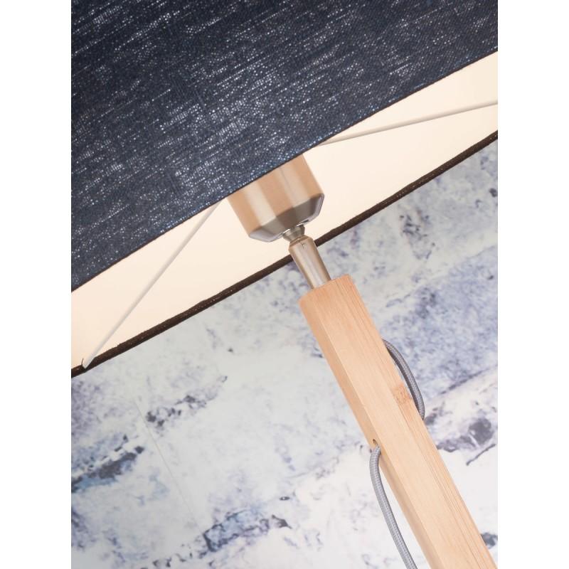 Lampada in legno in piedi con bambù e paralume di lino eco-friendly FUJI (naturale, bianco) - image 44664