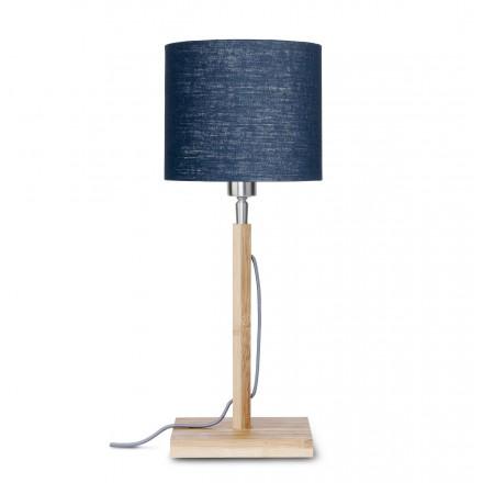 Lampe de table en bambou et abat-jour lin écologique FUJI (naturel, bleu jeans)