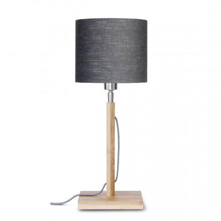 Lampada da tavolo Bamboo e paralume di lino eco-friendly FUJI (naturale, grigio scuro)