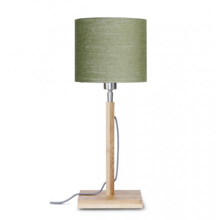 Lampe de table en bambou et abat-jour lin écologique FUJI (naturel, vert foncé)