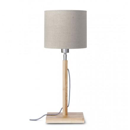 Bamboo table lamp and FUJI eco-friendly linen lamp (natural, dark linen)