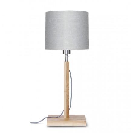 Lampada da tavolo Bamboo e paralume di lino eco-friendly FUJI (naturale, grigio chiaro)