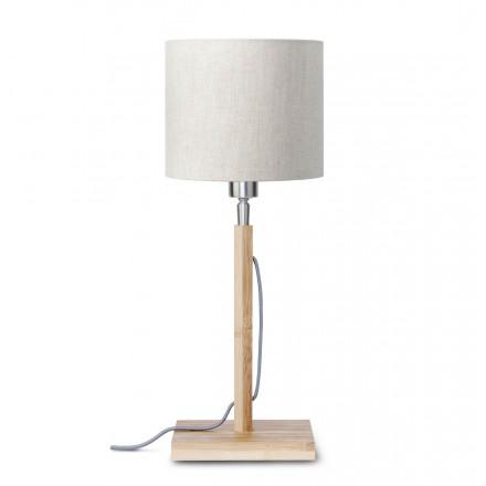 Lampe de table en bambou et abat-jour lin écologique FUJI (naturel, lin clair)