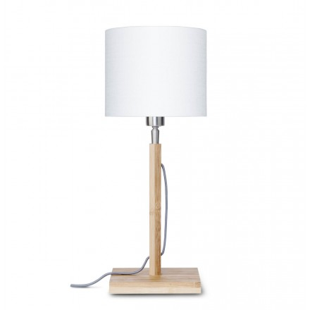 Lampada da tavolo Bamboo e paralume di lino ECO-friendly FUJI (naturale, bianco)