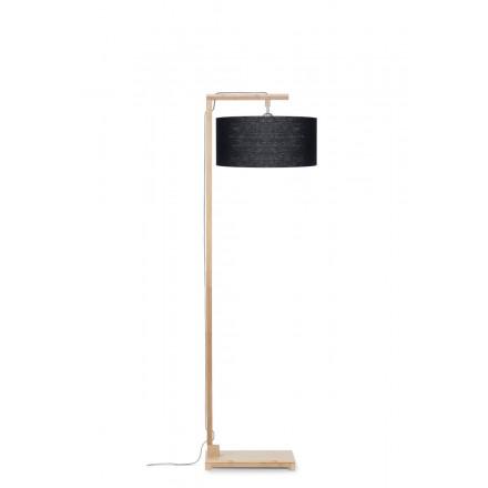Lampe sur pied en bambou et abat-jour lin écologique HIMALAYA (naturel, noir)