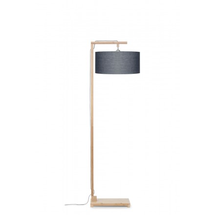Lampe sur pied en bambou et abat-jour lin écologique HIMALAYA (naturel, gris foncé)