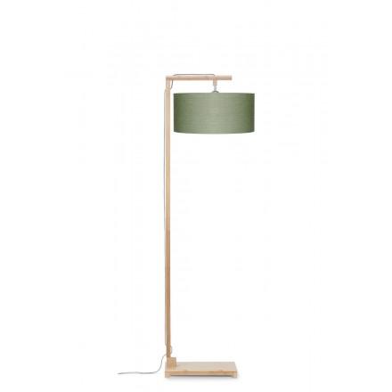 Lampe sur pied en bambou et abat-jour lin écologique HIMALAYA (naturel, vert foncé)
