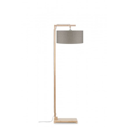 Lampe sur pied en bambou et abat-jour lin écologique HIMALAYA (naturel, lin foncé)