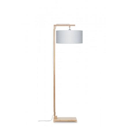 Lampe sur pied en bambou et abat-jour lin écologique HIMALAYA (naturel, gris clair)