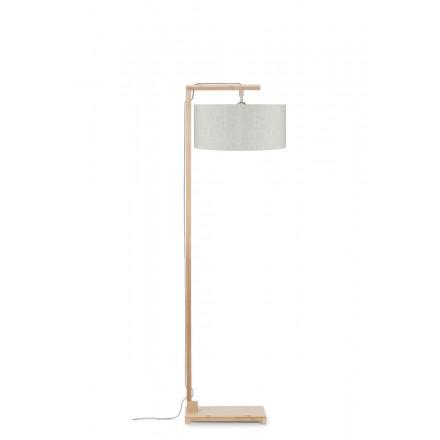 Lampe sur pied en bambou et abat-jour lin écologique HIMALAYA (naturel, lin clair)