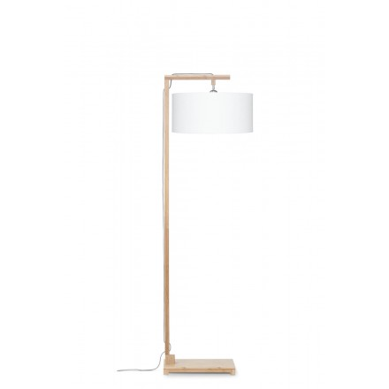 Bamboo standing lamp and himalaya ecological linen lampshade (natural, white)