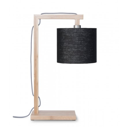Lampada da tavolo Bamboo e paralume di lino ecologico himalaya (naturale, nero)