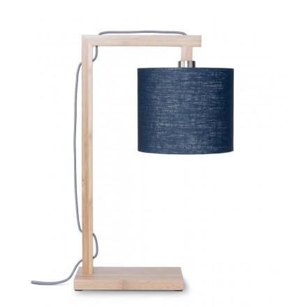 Lampe de table en bambou et abat-jour lin écologique HIMALAYA (naturel, bleu jeans)