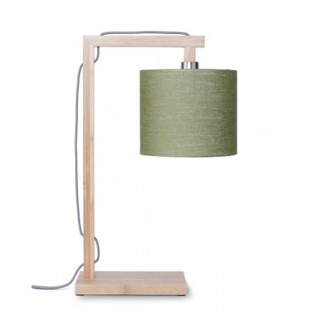 Bamboo table lamp and himalaya ecological linen lamp (natural, dark green)