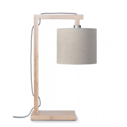Lámpara de mesa de bambú y lámpara de lino ecológico himalaya (natural, lino oscuro)