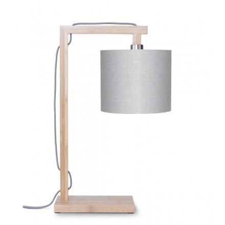 Lampada da tavolo Bamboo e lampada di lino ecologico himalaya (naturale, grigio chiaro)