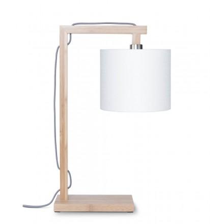 Lámpara de mesa de bambú y pantalla de lino ecológico himalaya (natural, blanco)