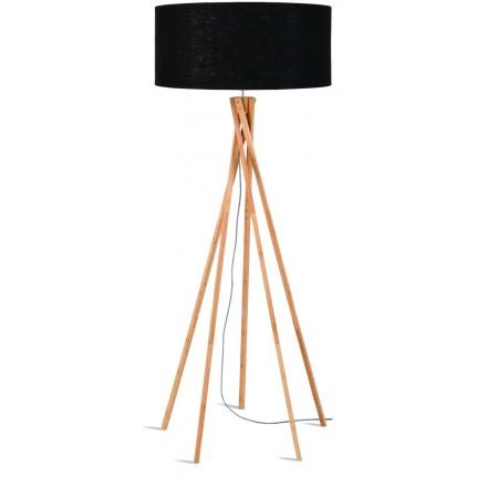 Bambus Stehlampe und KILIMANJARO umweltfreundliche Leinen Lampenschirm (natürlich, schwarz)