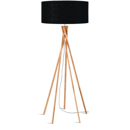 Lampe sur pied en bambou et abat-jour lin écologique KILIMANJARO (naturel, noir)