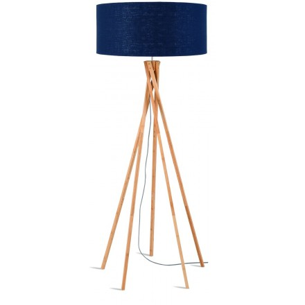 Bamboo standing lamp and KILIMANJARO eco-friendly linen lampshade (natural, blue jeans)