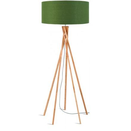 Lampe sur pied en bambou et abat-jour lin écologique KILIMANJARO (naturel, vert foncé)