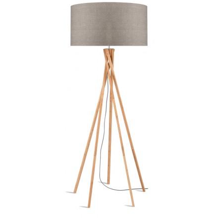 Lampe sur pied en bambou et abat-jour lin écologique KILIMANJARO (naturel, lin foncé)