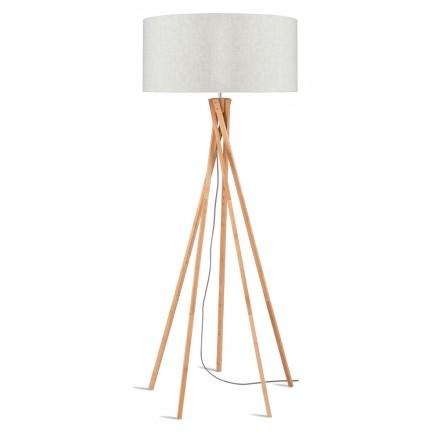 Lampe sur pied en bambou et abat-jour lin écologique KILIMANJARO (naturel, lin clair)
