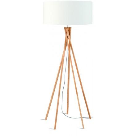 Bambus Stehlampe und KILIMANJARO umweltfreundliche Leinen Lampenschirm (natürlich, weiß)