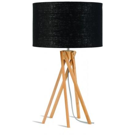 Lámpara de mesa de bambú y lámpara de lino ecológica KILIMANJARO (natural, negro)