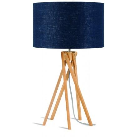 Lampe de table en bambou et abat-jour lin écologique KILIMANJARO (naturel, bleu jeans)