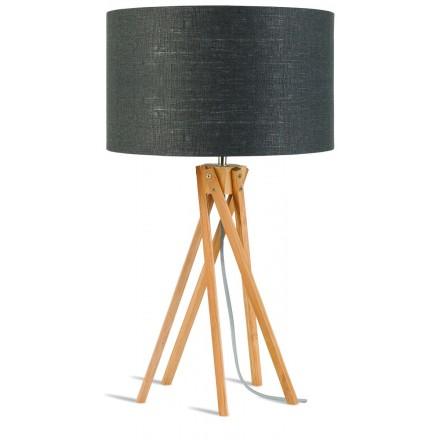 Bambus Tischleuchte und KILIMANJARO umweltfreundliche Leinenlampe (natürlich, dunkelgrau)