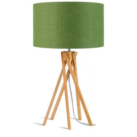 Bambus Tischleuchte und KILIMANJARO umweltfreundliche Leinenlampe (natürlich, dunkelgrün)