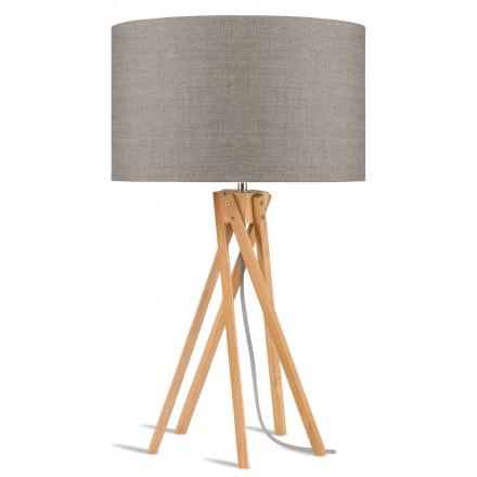 Lámpara de mesa de bambú y lámpara de lino ecológica KILIMANJARO (lino natural y oscuro)