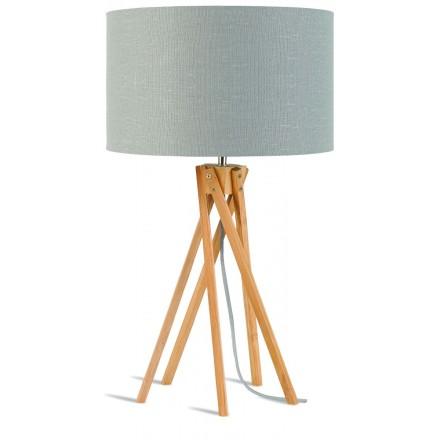 Lampe de table en bambou et abat-jour lin écologique KILIMANJARO (naturel, gris clair)